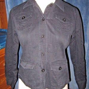 Dark Black Button 4 Pocket Blazer Jacket PL